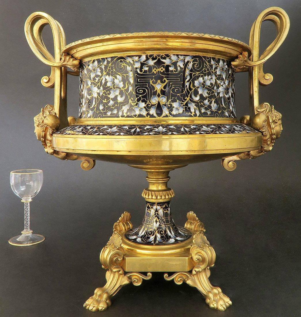Large French Bronze & Champleve Enamel Centerpiece