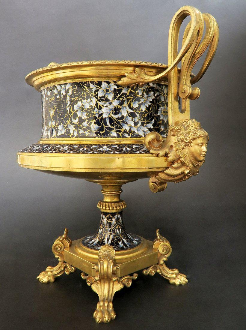 Large French Bronze & Champleve Enamel Centerpiece - 2