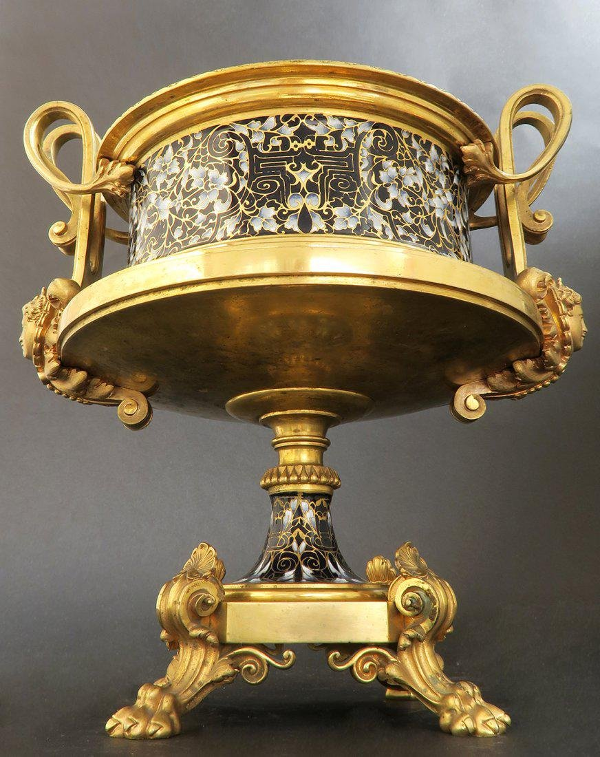 Large French Bronze & Champleve Enamel Centerpiece - 3