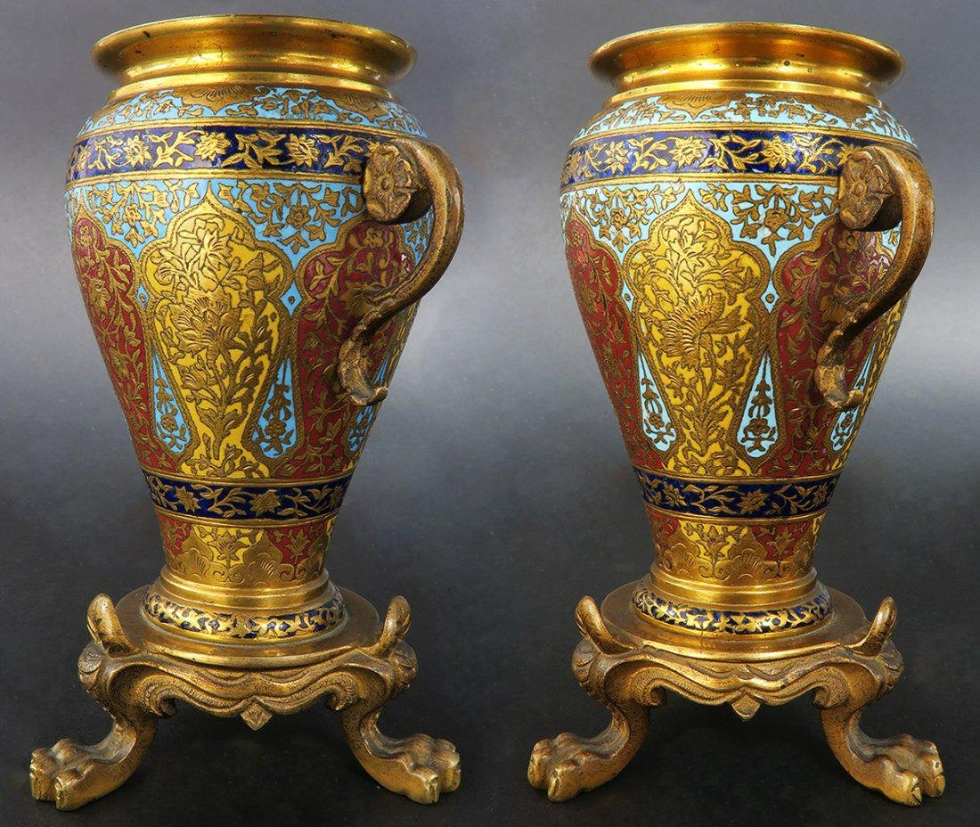 PAIR OF MINIATURE FRENCH GILT BRONZE AND CHAMPLEVE ENAM - 2