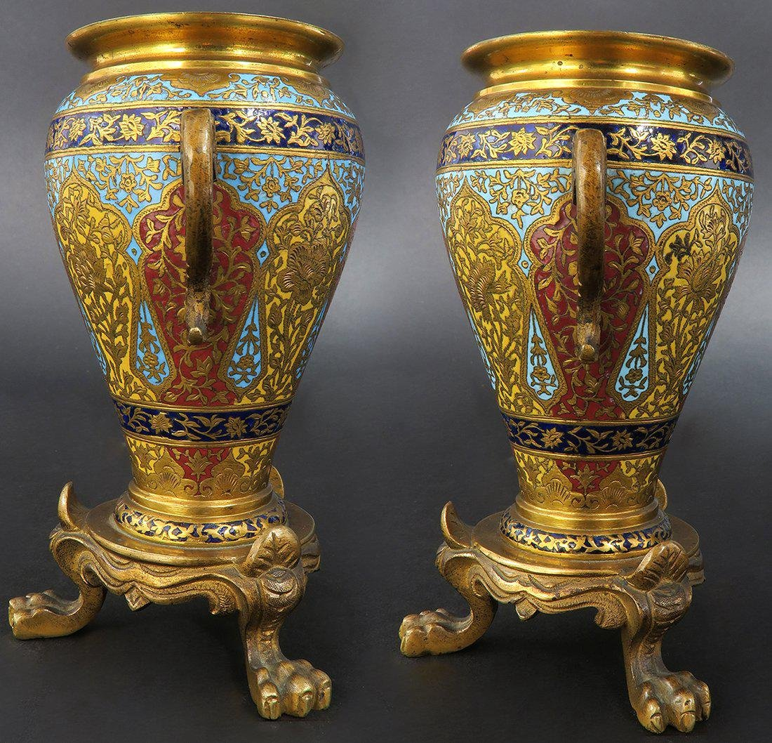 PAIR OF MINIATURE FRENCH GILT BRONZE AND CHAMPLEVE ENAM - 3