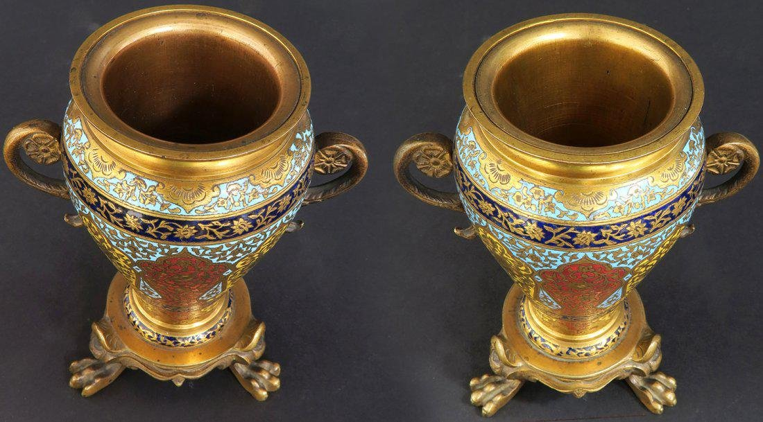PAIR OF MINIATURE FRENCH GILT BRONZE AND CHAMPLEVE ENAM - 4