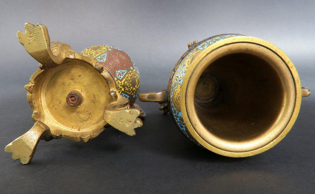 PAIR OF MINIATURE FRENCH GILT BRONZE AND CHAMPLEVE ENAM - 5