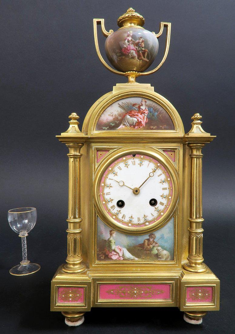 French Bronze & Sevres Porcelain Clock