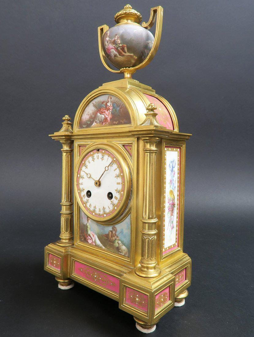 French Bronze & Sevres Porcelain Clock - 2