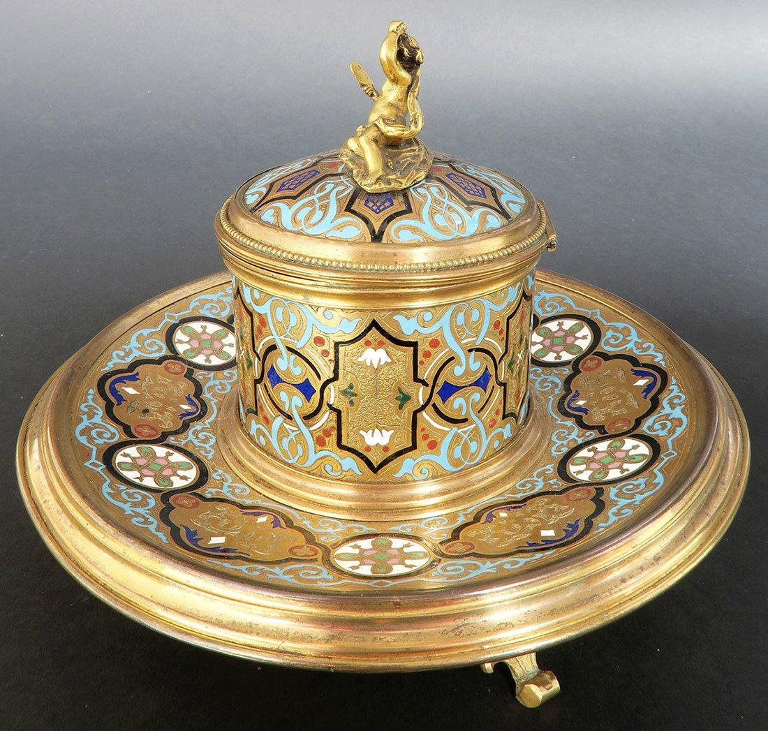 French Bronze & Champleve Enamel Figural Inkwell. 19th - 2