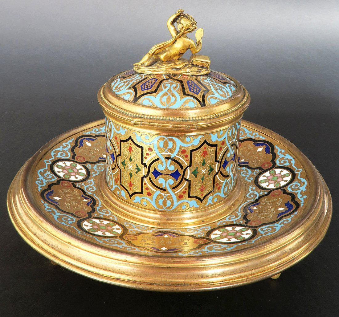 French Bronze & Champleve Enamel Figural Inkwell. 19th - 3