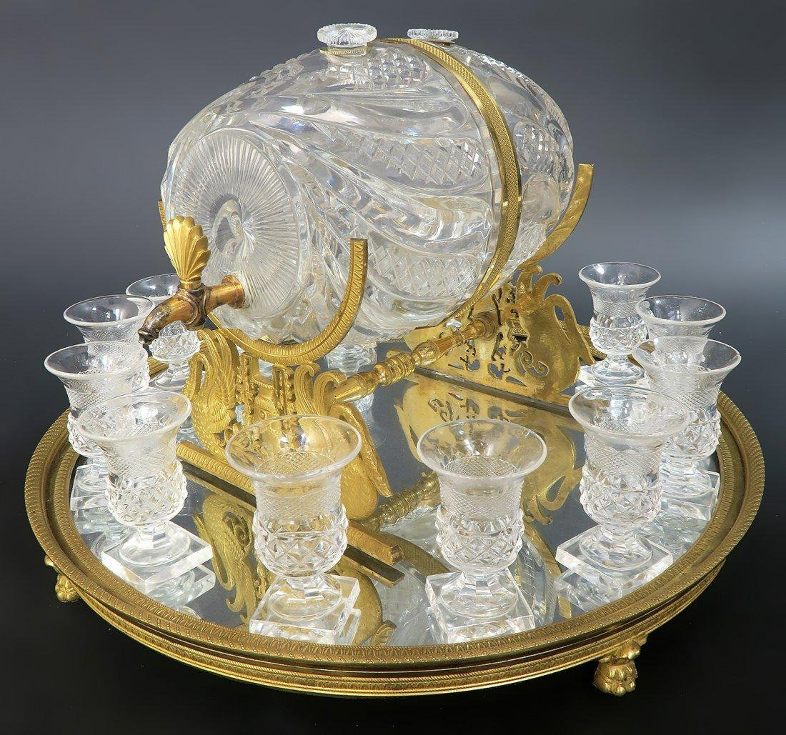 French Baccarat Crystal & Bronze Tantalus
