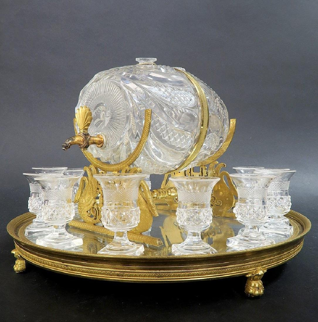 French Baccarat Crystal & Bronze Tantalus - 2