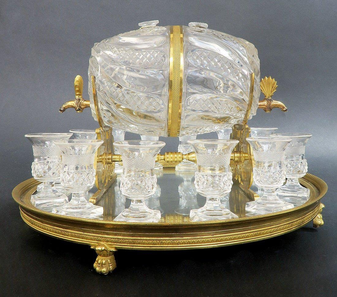 French Baccarat Crystal & Bronze Tantalus - 3