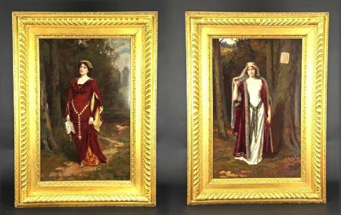 19th C. Framed frame two OIL ON CANVAS-ABBEY ALTSON