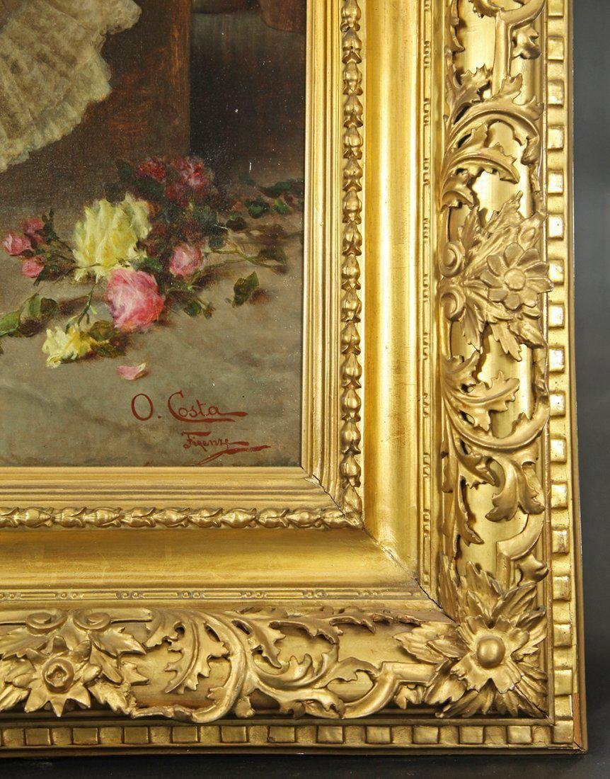 19th C. Oil on Canvas signed by oreste costa(1851-1901) - 3