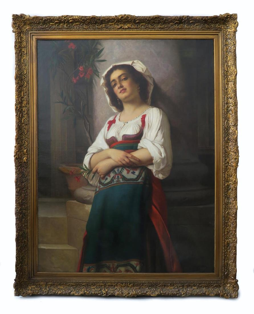 19 C. Italian Painting: A Young Girl Holding a  Flower