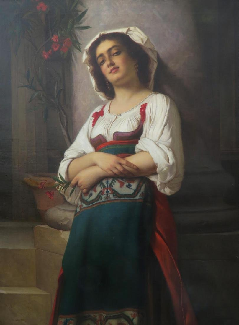 19 C. Italian Painting: A Young Girl Holding a  Flower - 2