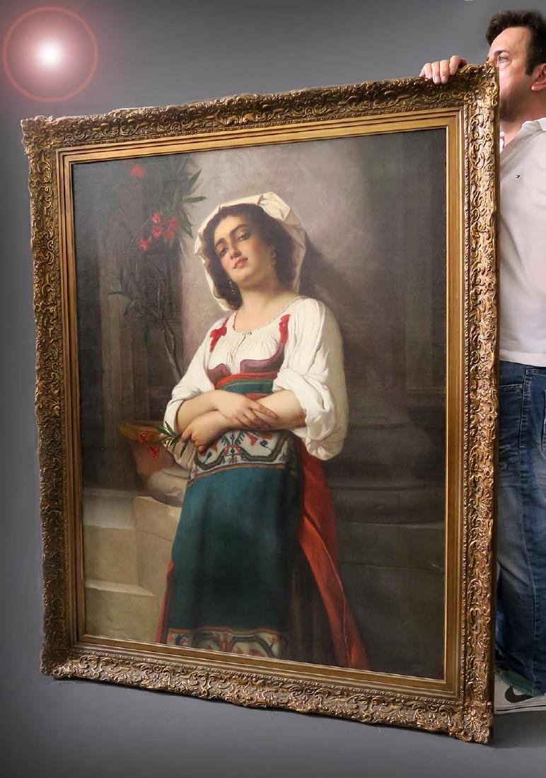 19 C. Italian Painting: A Young Girl Holding a  Flower - 3