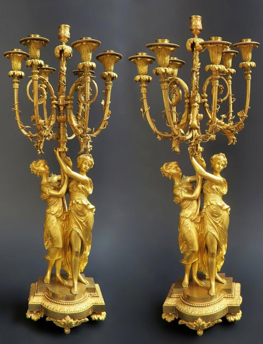 Monumental Mercury Gilt Bronze Figural Clock Set - 2