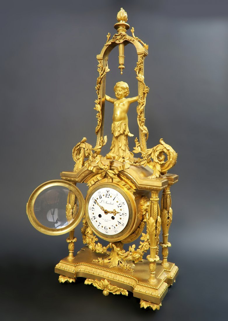 Monumental Mercury Gilt Bronze Figural Clock Set - 6