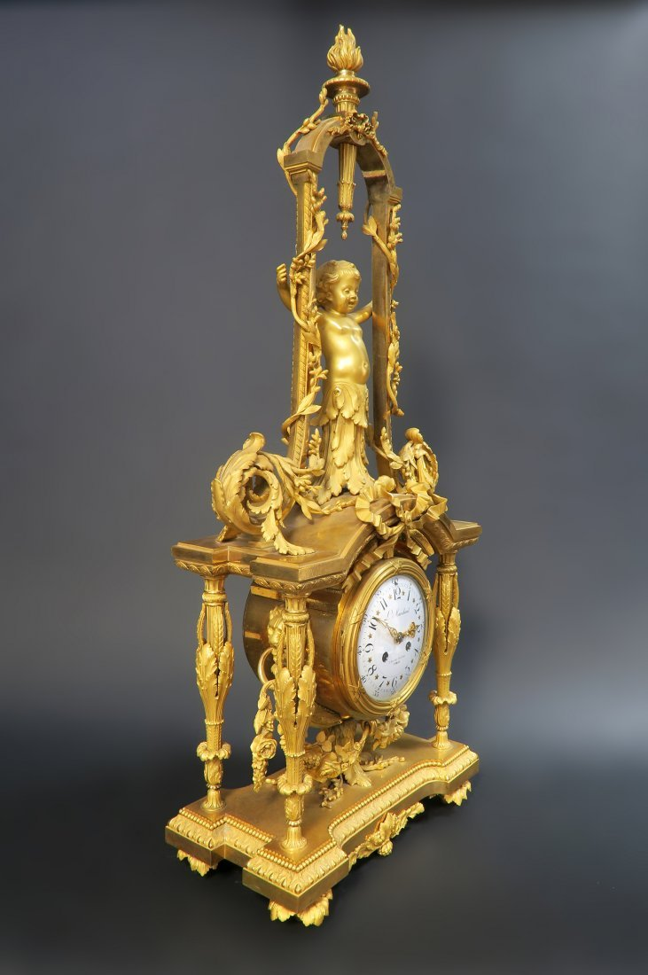 Monumental Mercury Gilt Bronze Figural Clock Set - 7