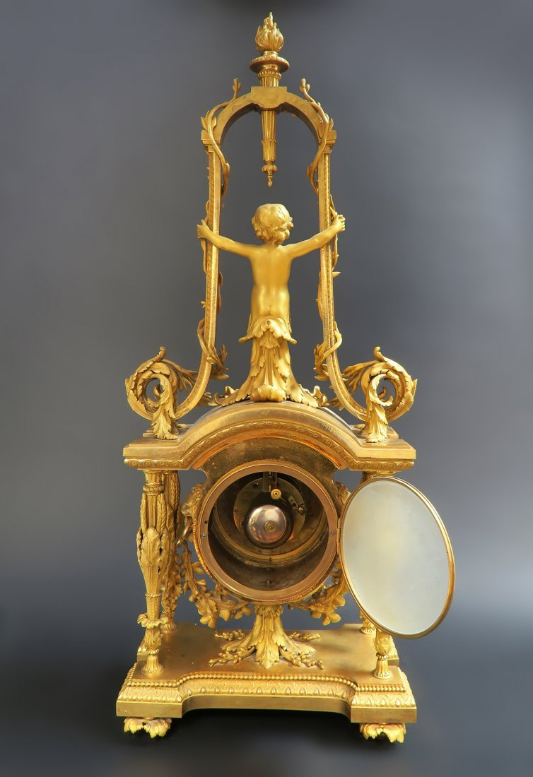 Monumental Mercury Gilt Bronze Figural Clock Set - 9