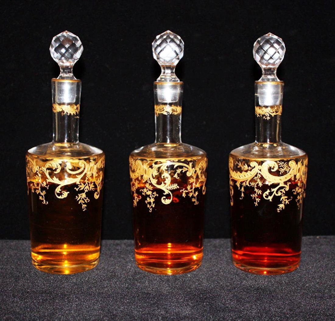 Set of 3 Pieces French Gilt Crystal Liqueur Bottles