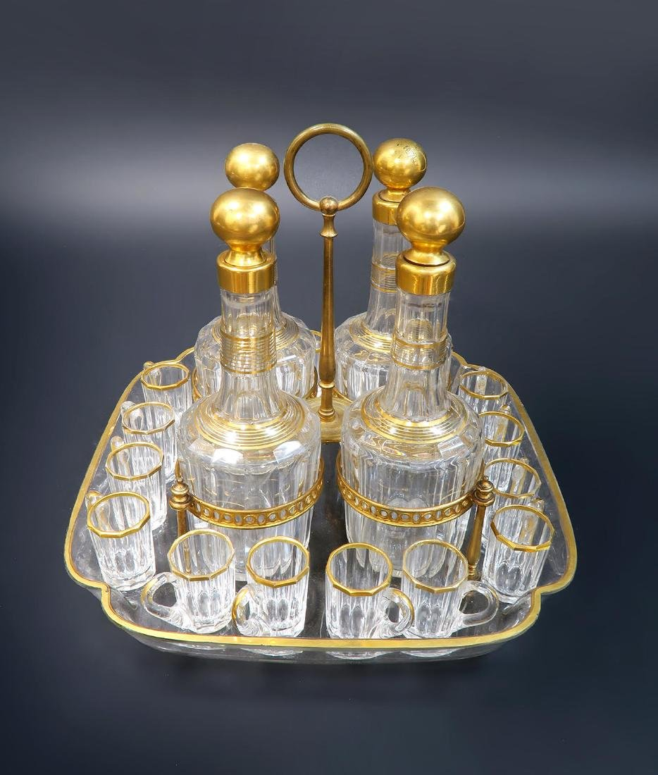 19th C. French Baccarat Tantalus/Cave a Liqueur