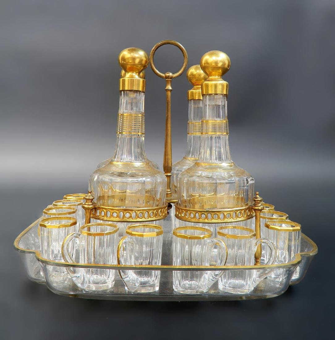 19th C. French Baccarat Tantalus/Cave a Liqueur - 2