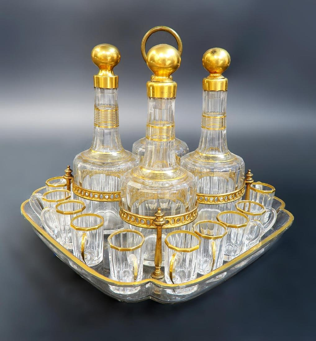 19th C. French Baccarat Tantalus/Cave a Liqueur - 3