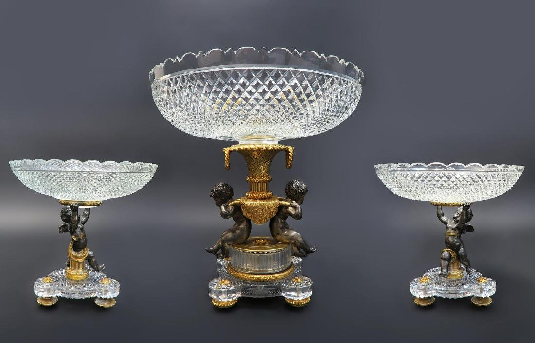 19th C. French Stamped Baccarat 3pcs Garniture Set