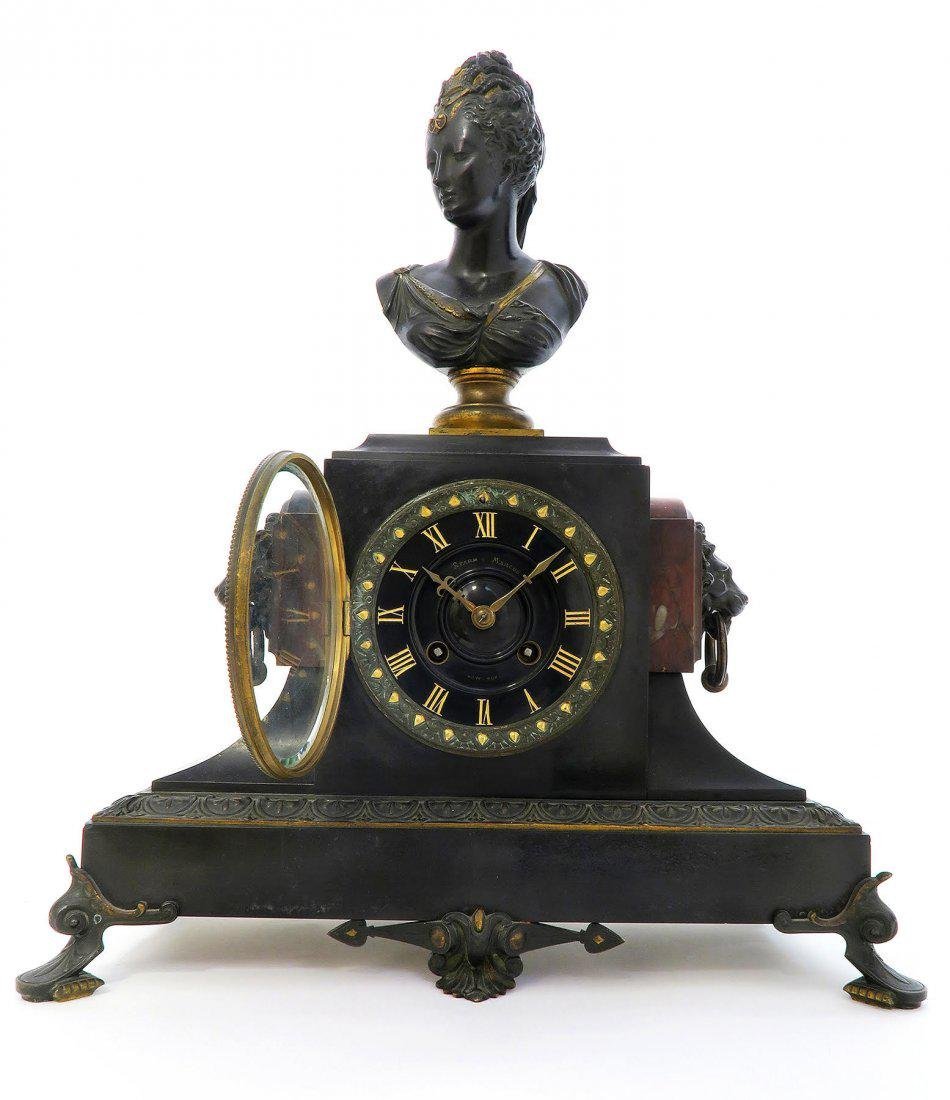 19th C french Victorian Marble & Bronze Clock Set - 2
