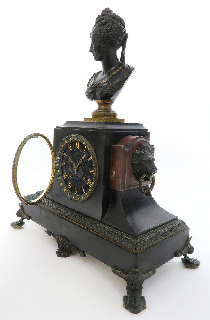 19th C french Victorian Marble & Bronze Clock Set - 3