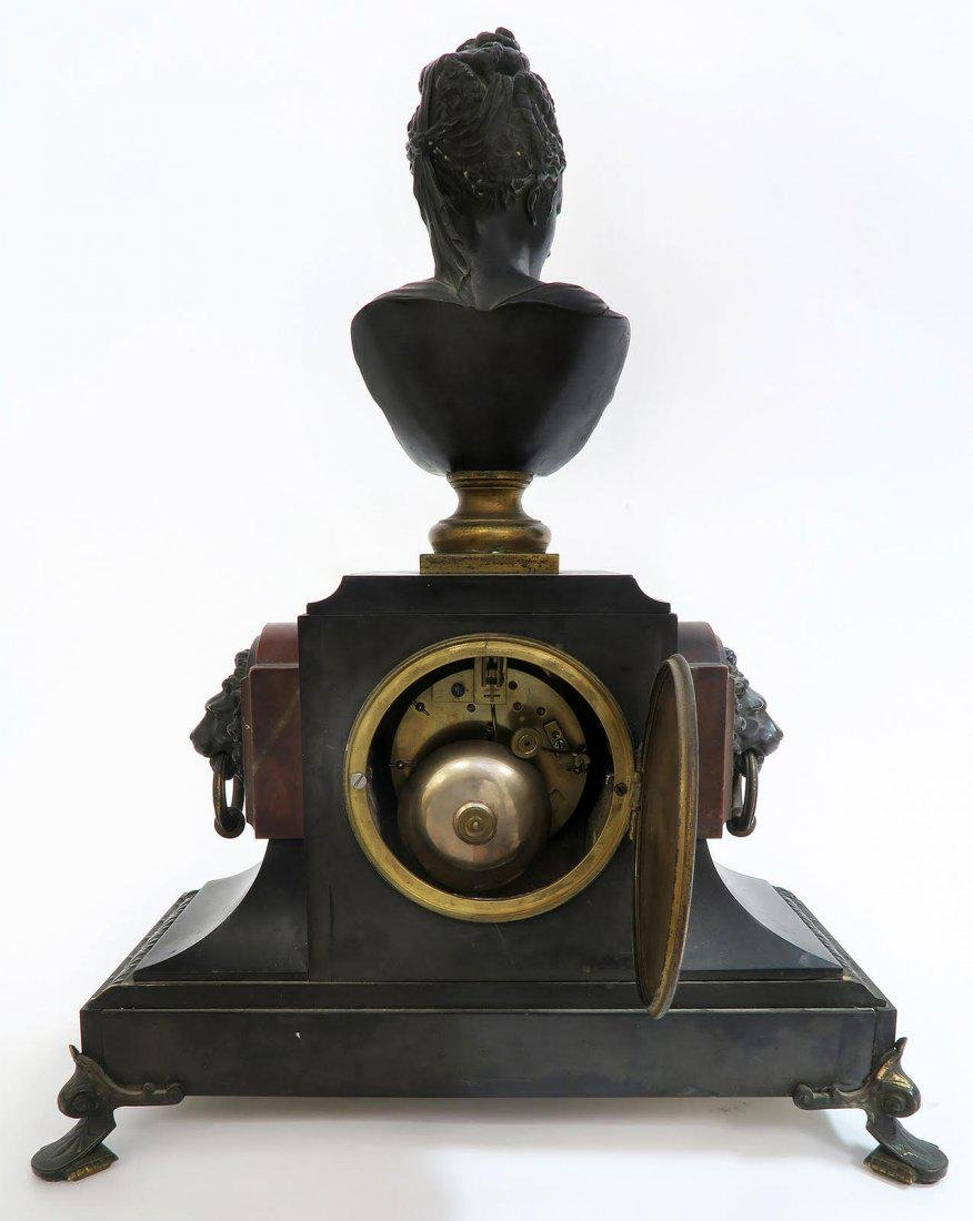19th C french Victorian Marble & Bronze Clock Set - 5