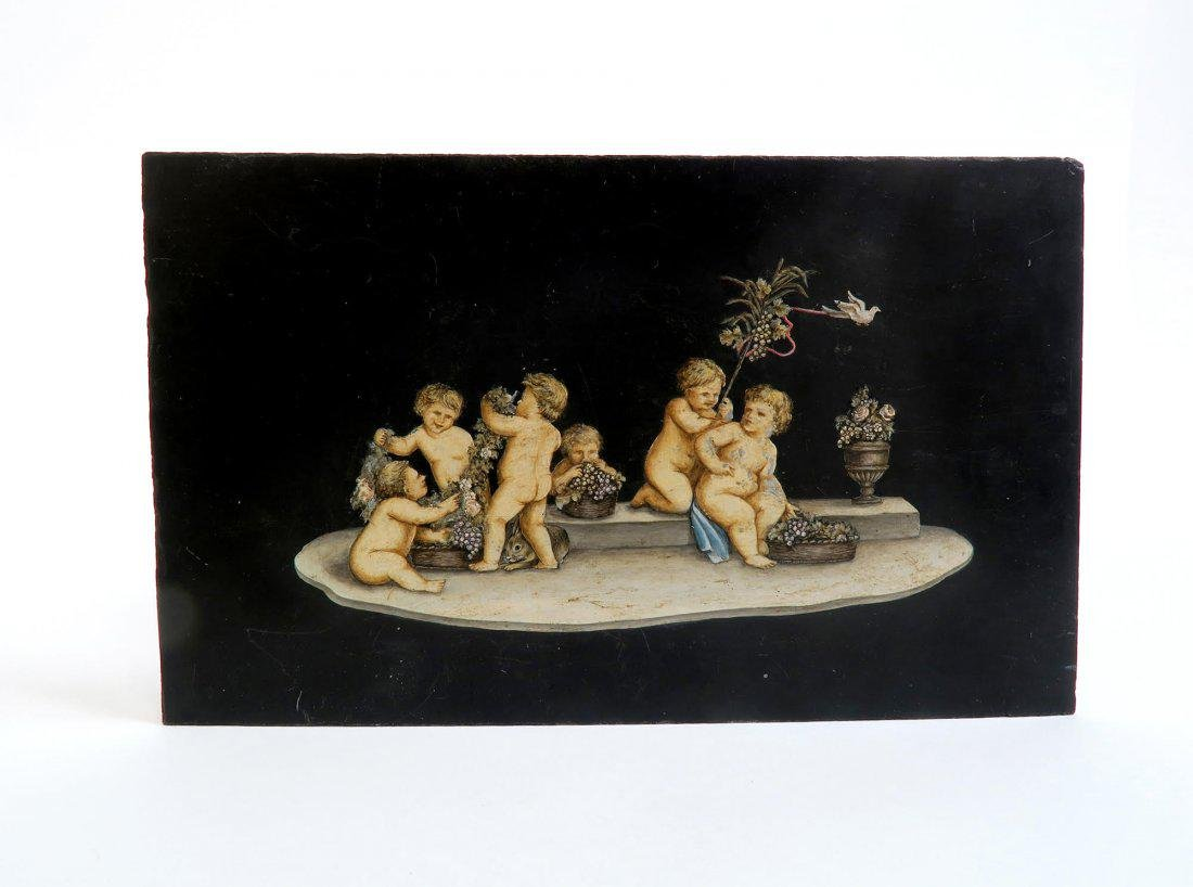 Pair Of 19th C French hand-painted Marble plaque - 2