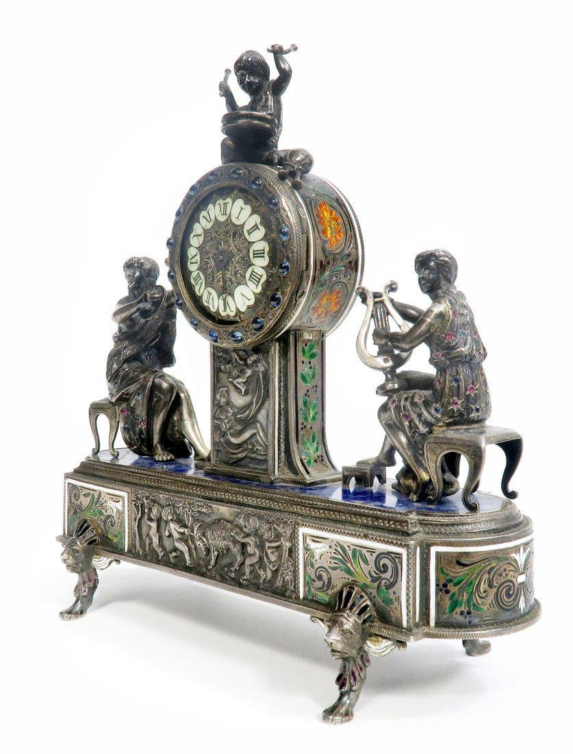 Viennese/Austrian Enamel on Silver Figural Clock - 2