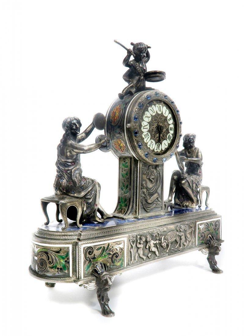 Viennese/Austrian Enamel on Silver Figural Clock - 3