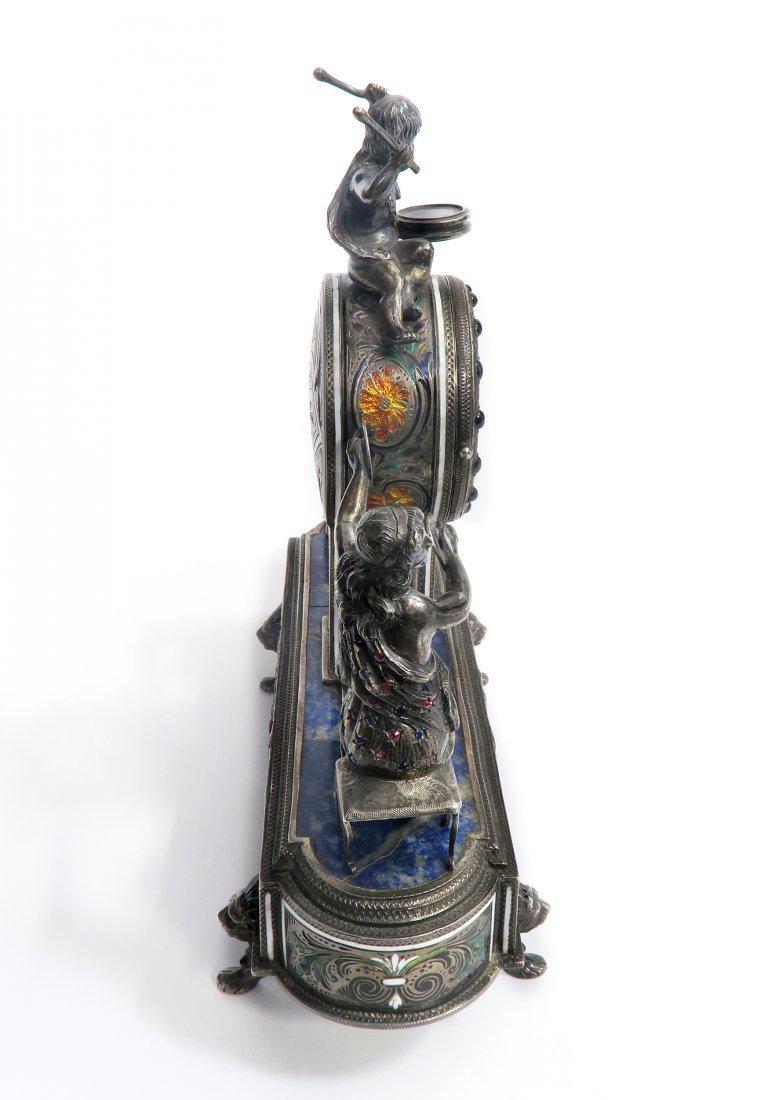 Viennese/Austrian Enamel on Silver Figural Clock - 5