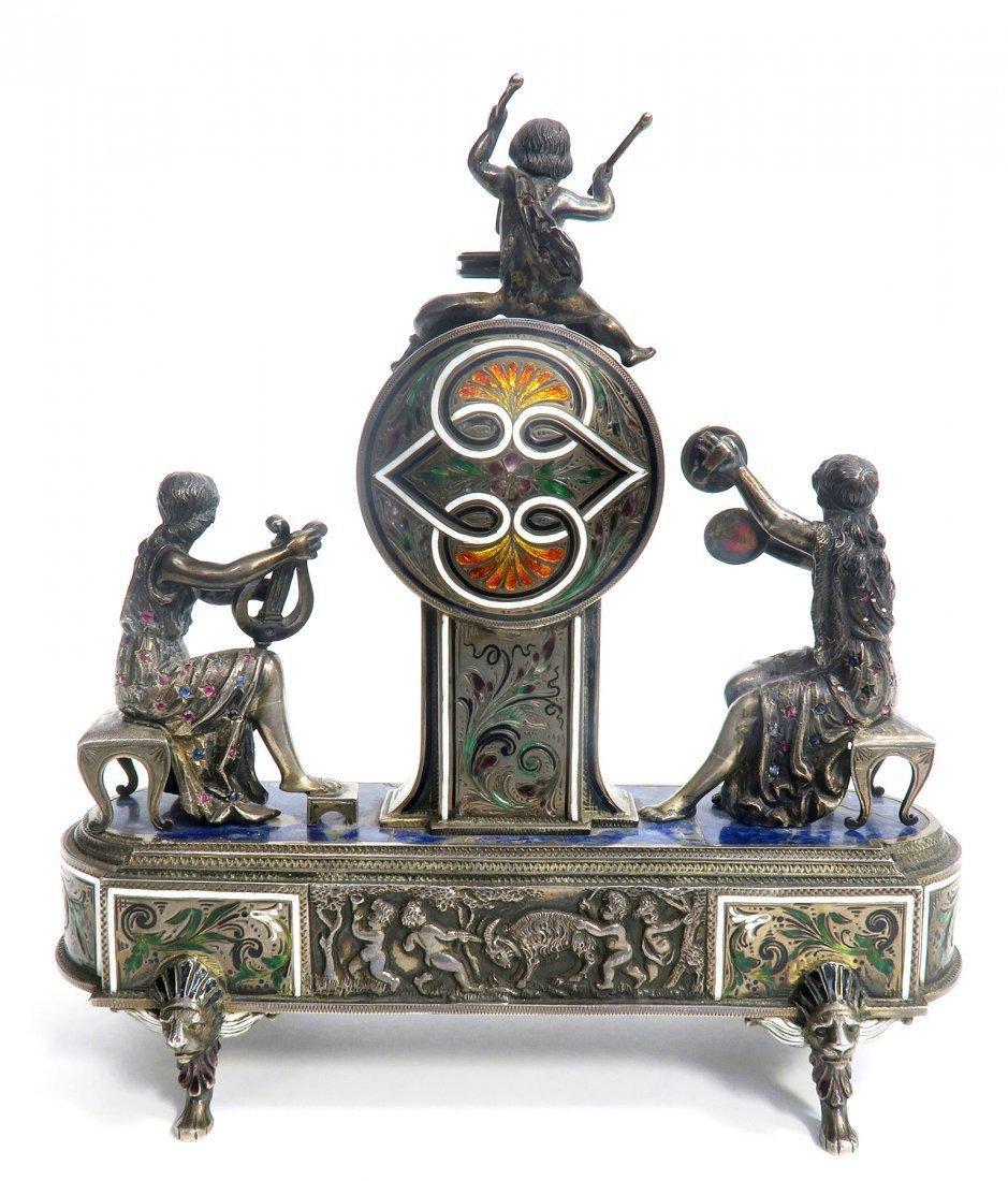 Viennese/Austrian Enamel on Silver Figural Clock - 6