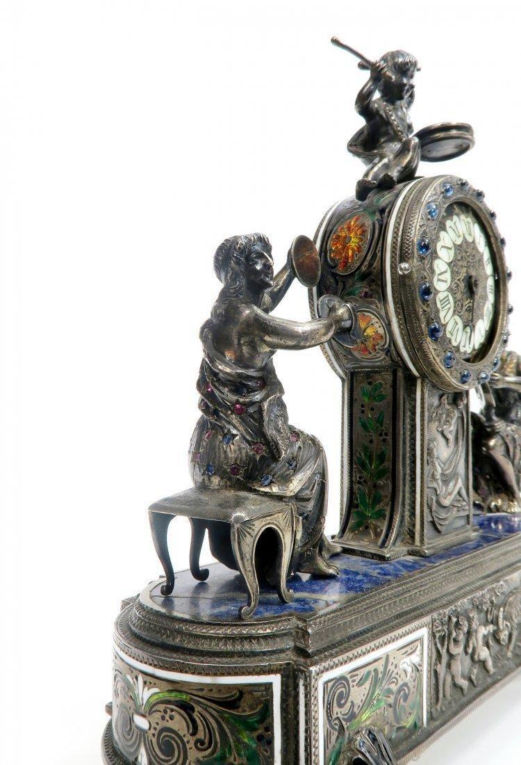 Viennese/Austrian Enamel on Silver Figural Clock - 8
