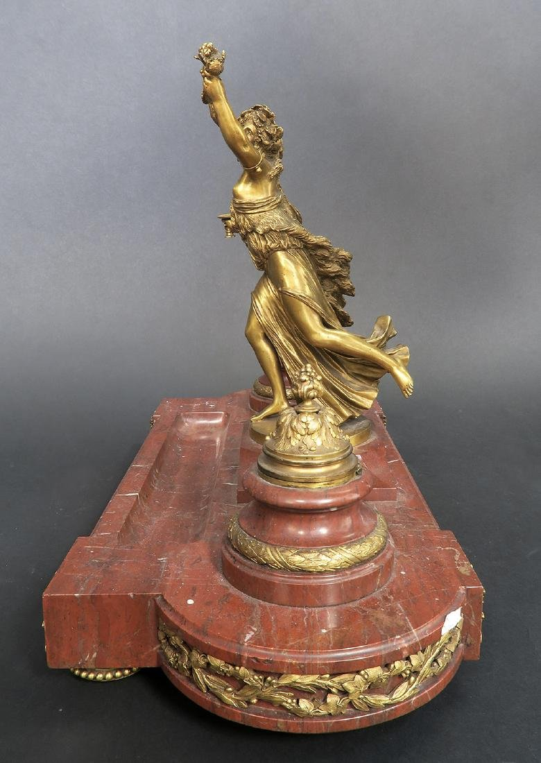 French Marble and Figural Bronze Inkwell, 19th C. - 4