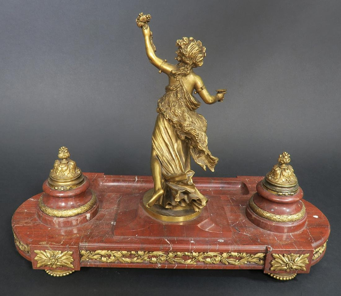 French Marble and Figural Bronze Inkwell, 19th C. - 5