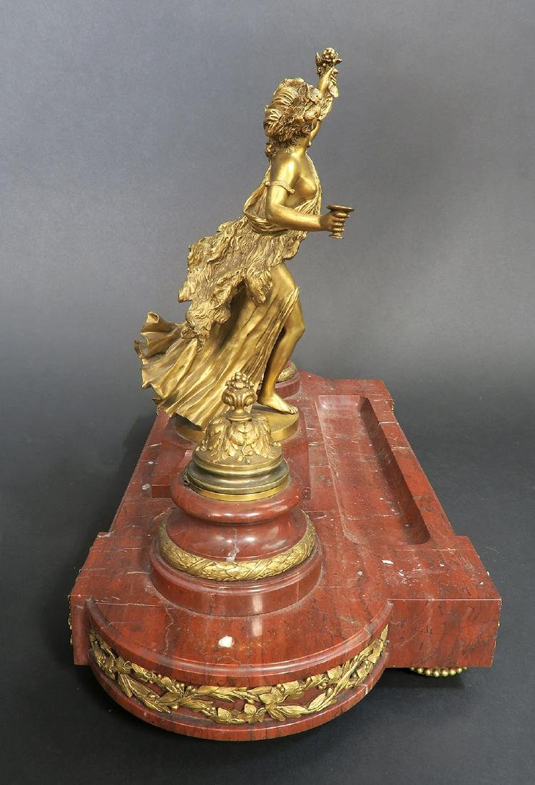 French Marble and Figural Bronze Inkwell, 19th C. - 6