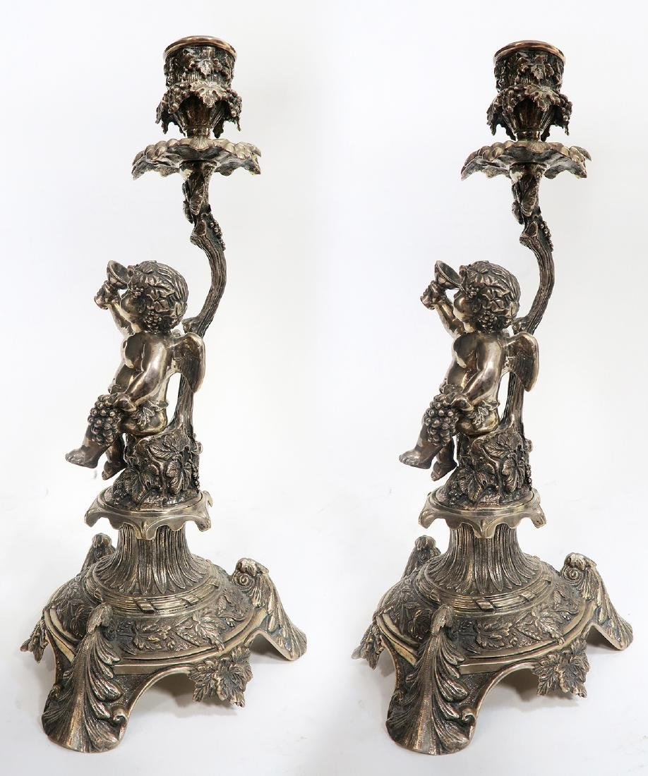 19th C Pair of French Figural Silver (900) Candlesticks - 2