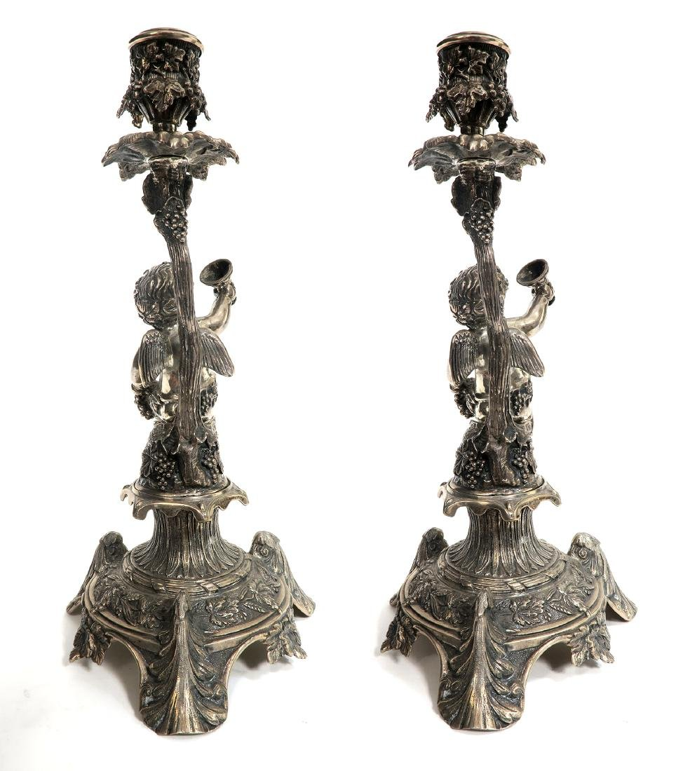 19th C Pair of French Figural Silver (900) Candlesticks - 3