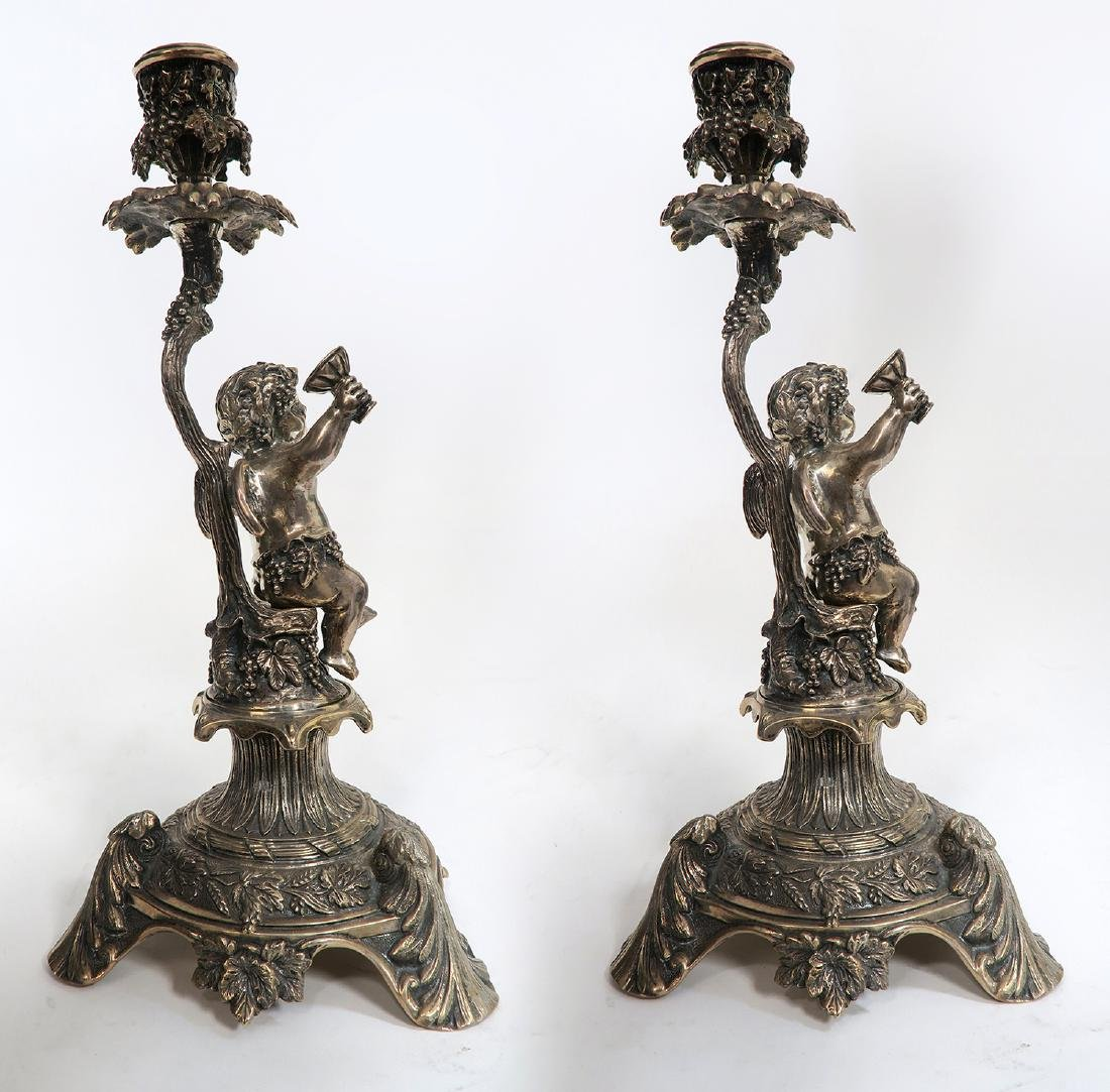 19th C Pair of French Figural Silver (900) Candlesticks - 4