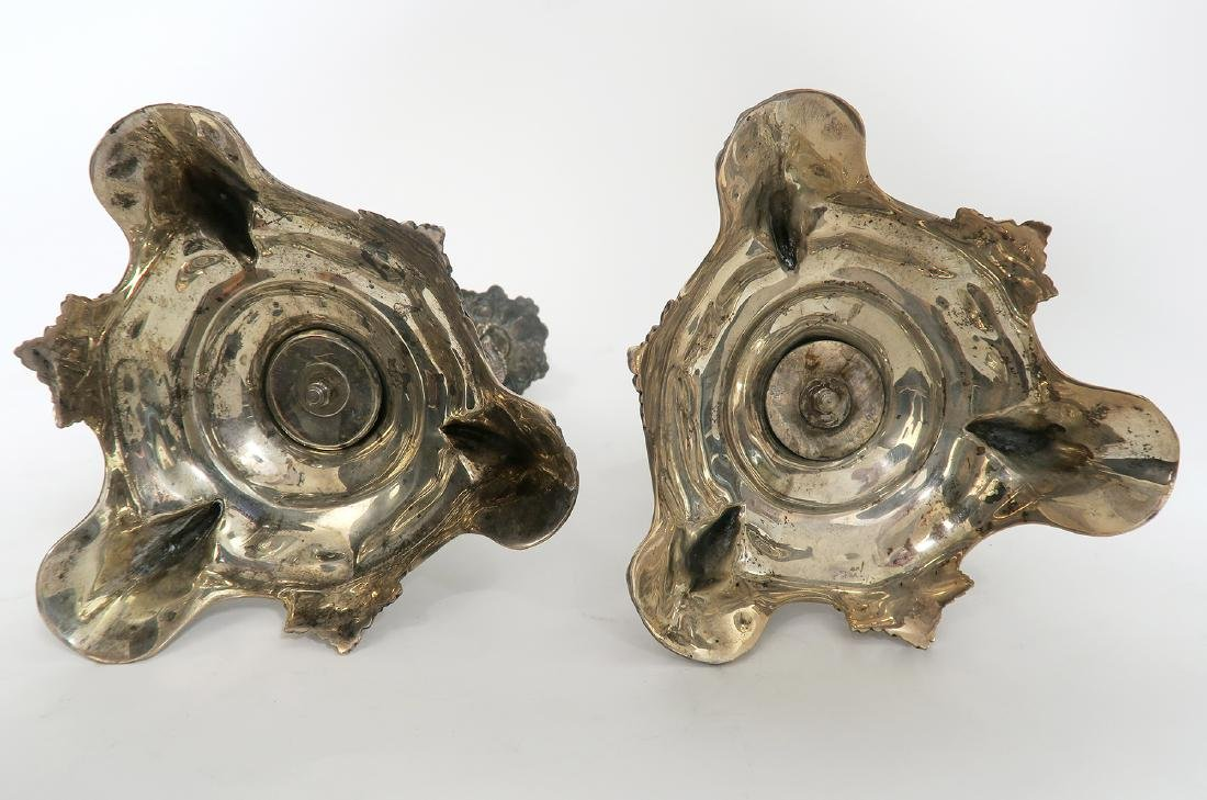 19th C Pair of French Figural Silver (900) Candlesticks - 5