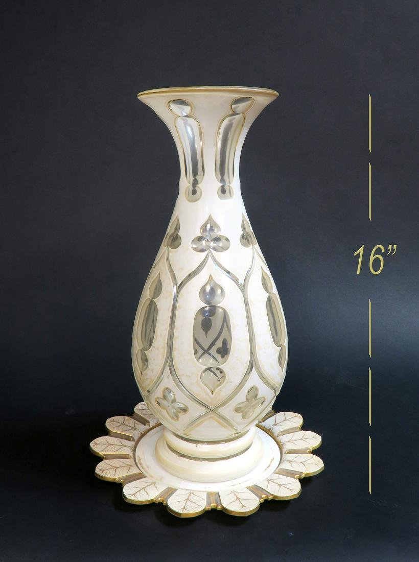 Very Large 19th C. Bohemian Vase & Plate