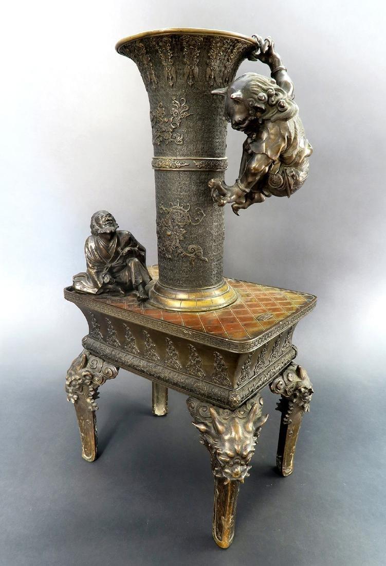 Japanese Large Bronze Figural Incense Burner (Signed!)