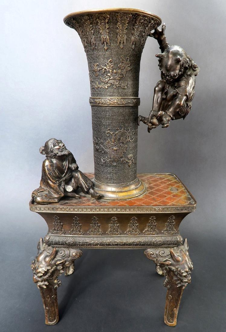 Japanese Large Bronze Figural Incense Burner (Signed!) - 2