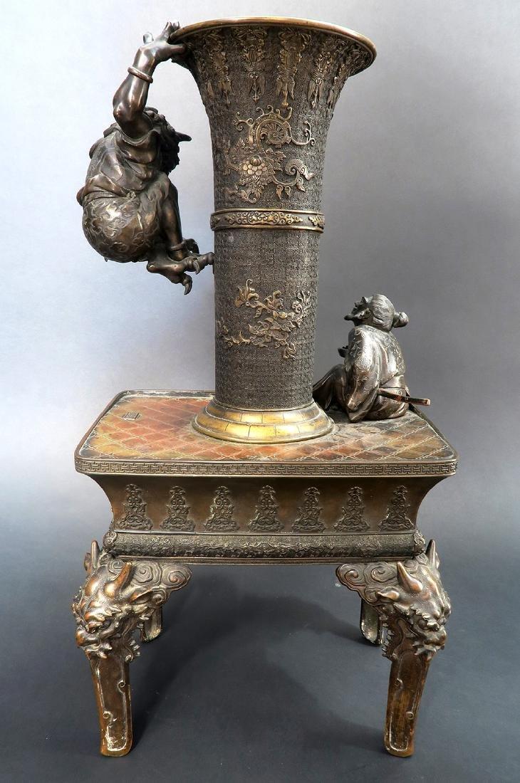 Japanese Large Bronze Figural Incense Burner (Signed!) - 4