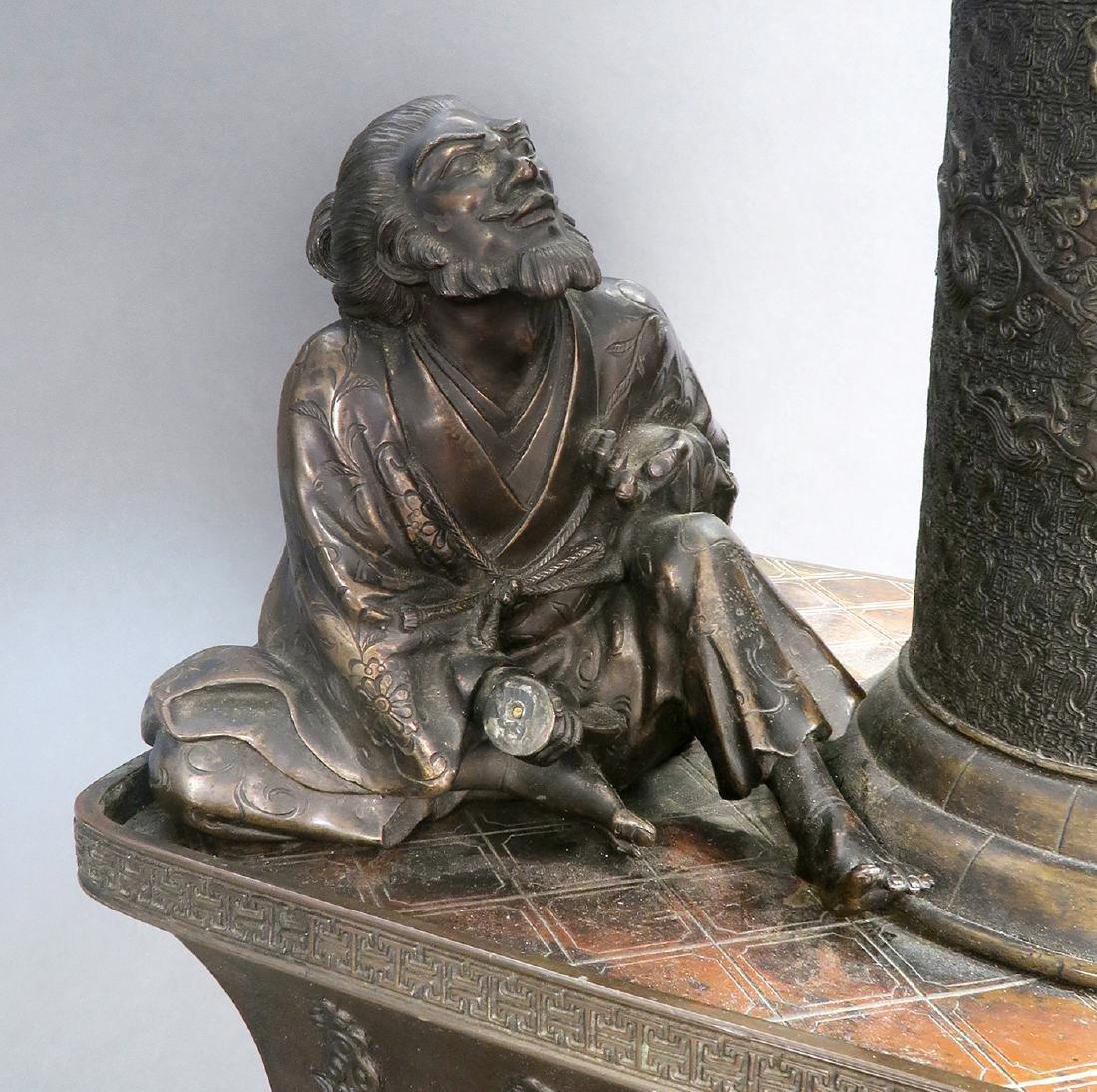 Japanese Large Bronze Figural Incense Burner (Signed!) - 5