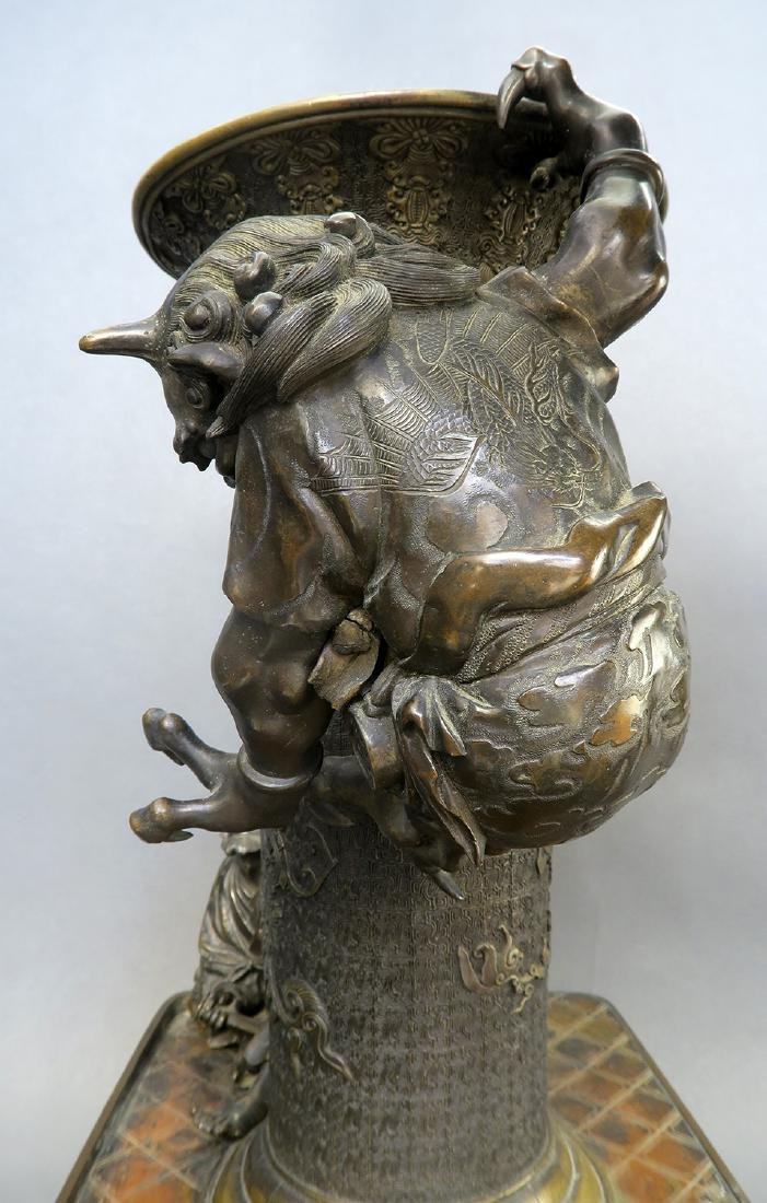 Japanese Large Bronze Figural Incense Burner (Signed!) - 8